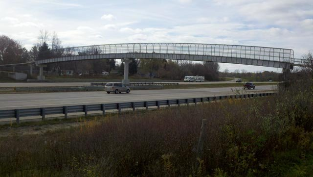The overpass pedestrian bridge near Burton.