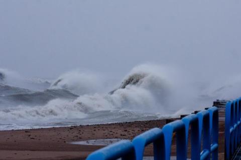 Lake Huron waves crashing on Tuesday.