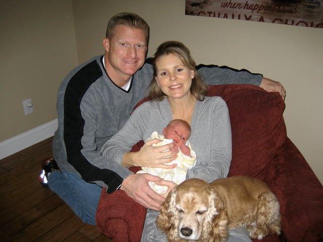 TV5 Anchor Carrie Sharp with her husband Doug, son Watt and dog Sally.