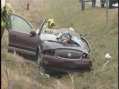The Buick in the second crash, in Saginaw County.