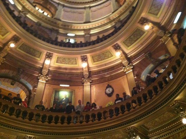 Protestors at the Capitol on Wednesday night.