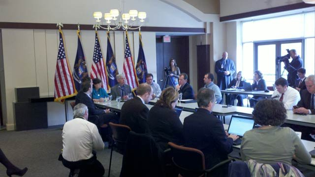 """Gov. Rick Snyder hosting a round table discussion on proposed """"right to work"""" legislation."""