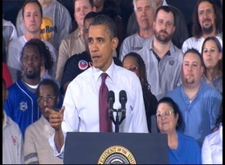 Pres. Barack Obama speaking at the Detroit-area plant on Monday.