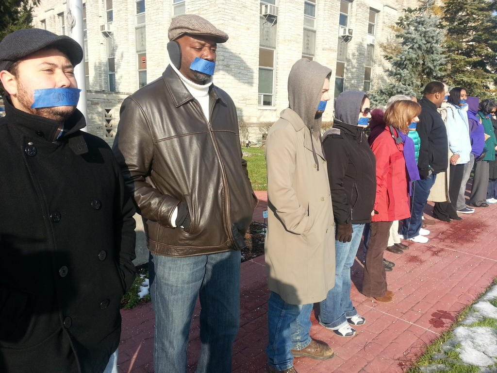 Protestors in Saginaw on Wednesday.