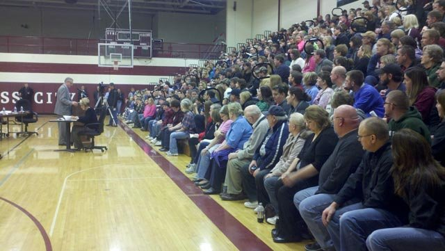 Parents gathered at the Cass City High School gym Monday night.
