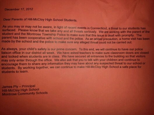 The letter sent home to parents on Monday.