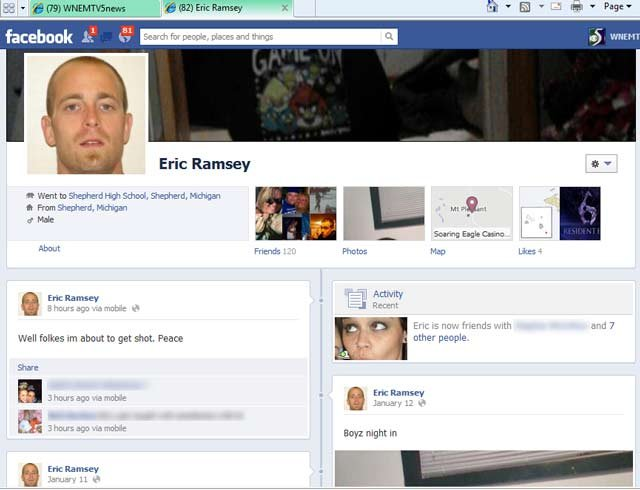 Eric Ramsey's Facebook page showing his update.