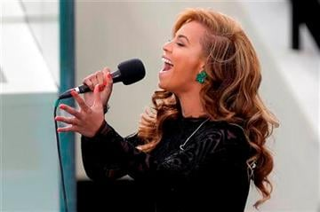 Beyonce sings the National Anthem at the ceremonial swearing-in for President Barack Obama at the U.S.