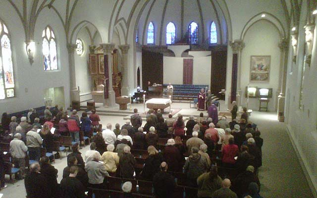 People gathered at an Ash Wednesday service in Mid-Michigan.