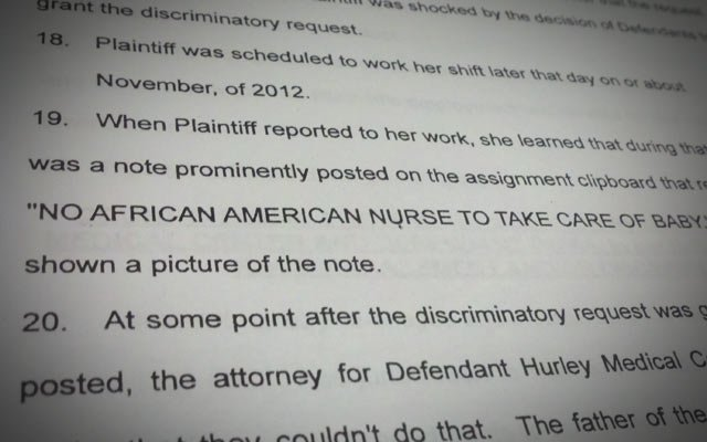 A photo showing a page of the lawsuit filed by the nurse.