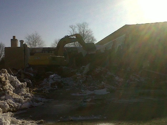 Crews demolish Breckenridge West Elementary School on Monday.