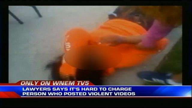 A still-frame showing a fight video posted on Facebook.