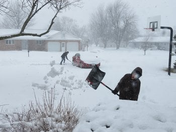Residents dig out in Minnesota.