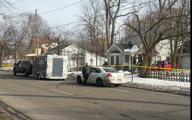 The MSP crime lab outside the house.