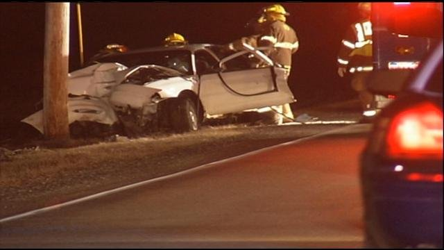 A view of the crash scene early Monday morning.