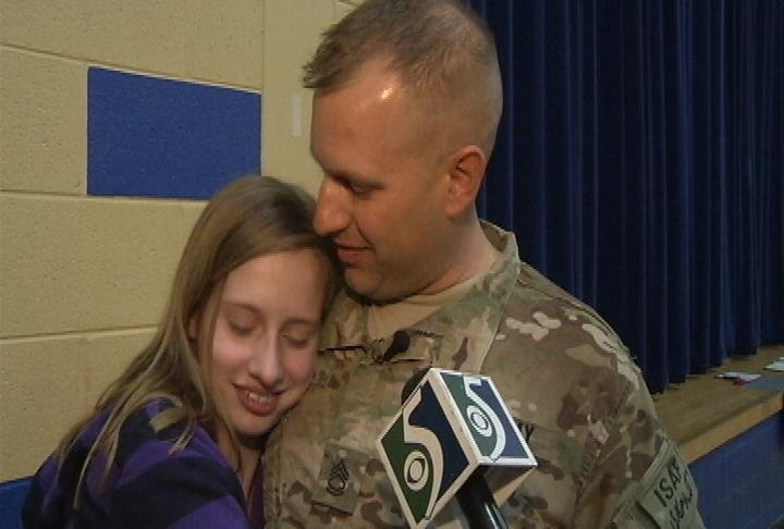 Morgan and her father, SFC Dave Acker.
