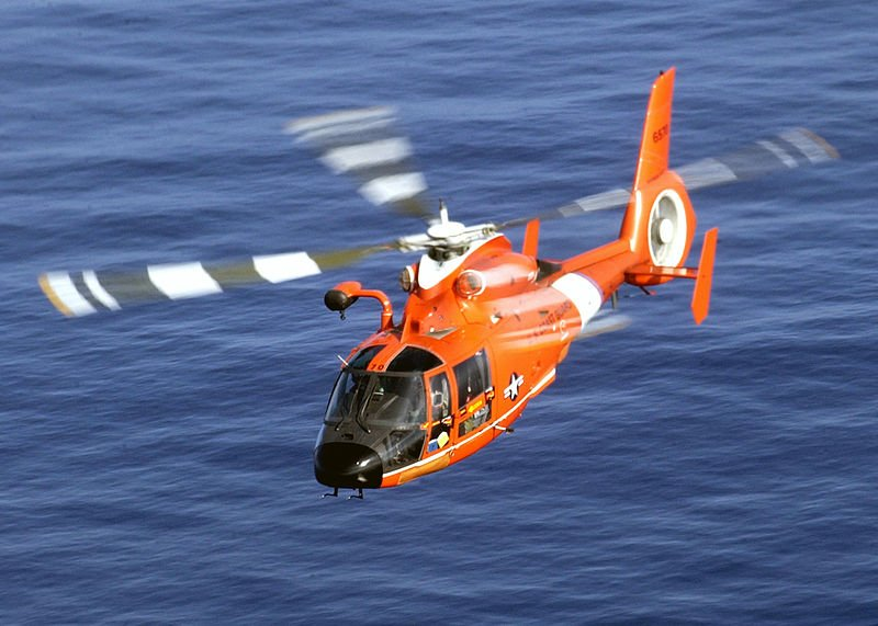 A Coast Guard rescue helicopter.