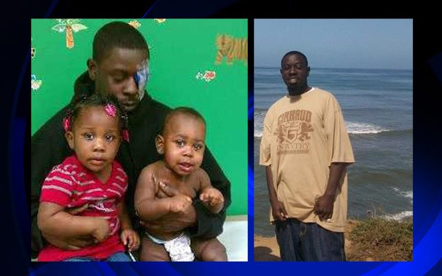 Chris Cole with his children shown on the left, him standing along a shoreline to the right.