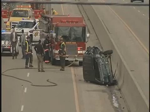 A view of the crash from an overpass.