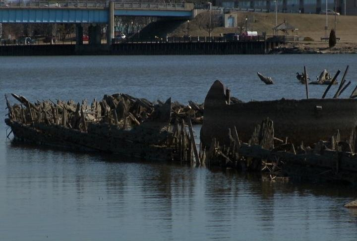Remnants of a ship in the Saginaw River.