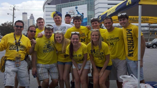 Michigan fans tailgating in Atlanta ahead of the big game.