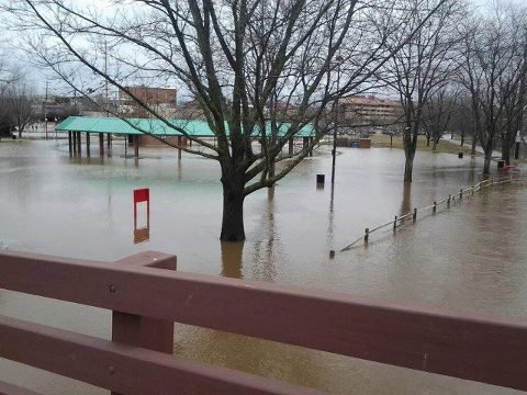 Midland's Farmers Market and Tridge area under water earlier this week.
