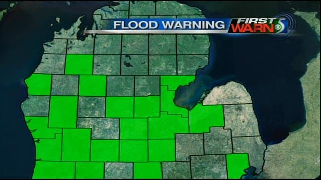 A map of Mid-Michigan showing the counties under a flood warning.