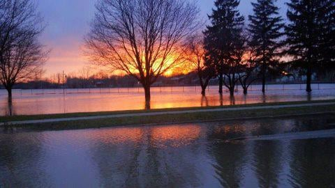 A flooding scene from Alma early Friday morning.