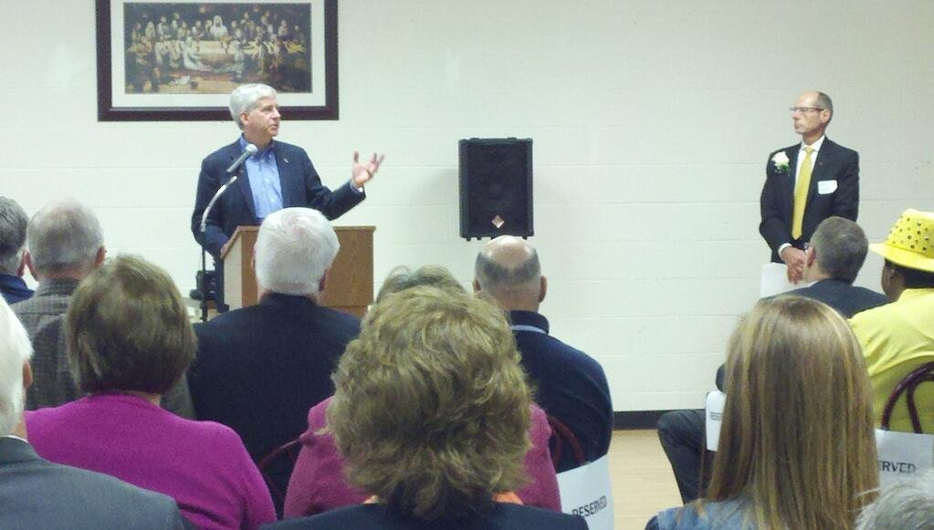 Gov. Rick Snyder at N.E.W. Life Enterprises on Friday.