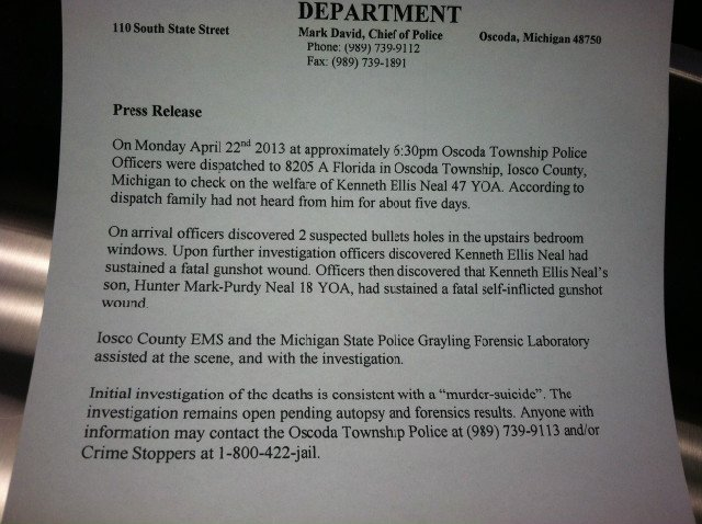 Press release from Oscoda Police Department