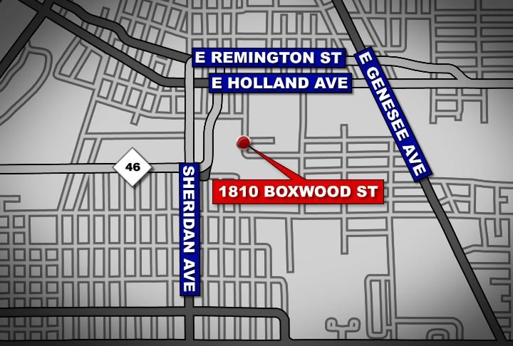 A map showing the surrounding neighborhood near where the woman was found dead inside a vehicle.