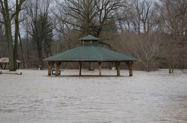 An area park underwater nearly two weeks ago after heavy rains pushed rivers past their banks.