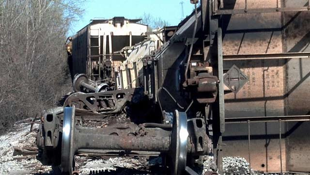 A view from the back of two derailed cars -- photo courtesy of Pamela Carter.