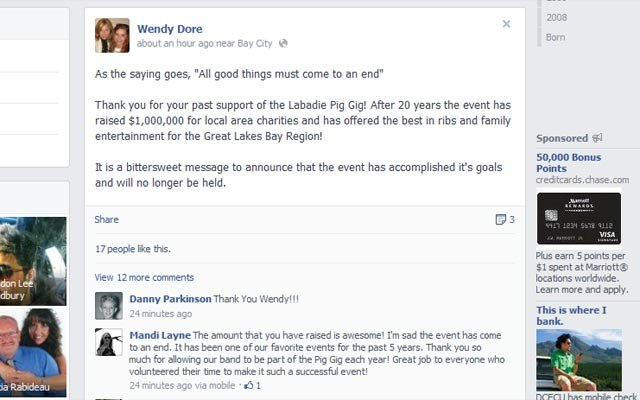 A look at Wendy Dore's Facebook page and the announcement.