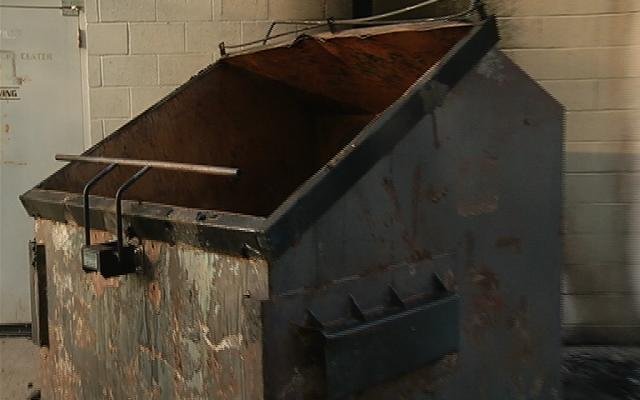 The dumpster that was on fire early Wednesday morning.
