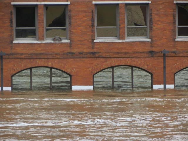 A building underwater in Grand Rapids during flooding
