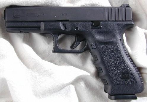 A Glock 19 semi-auto pistol.
