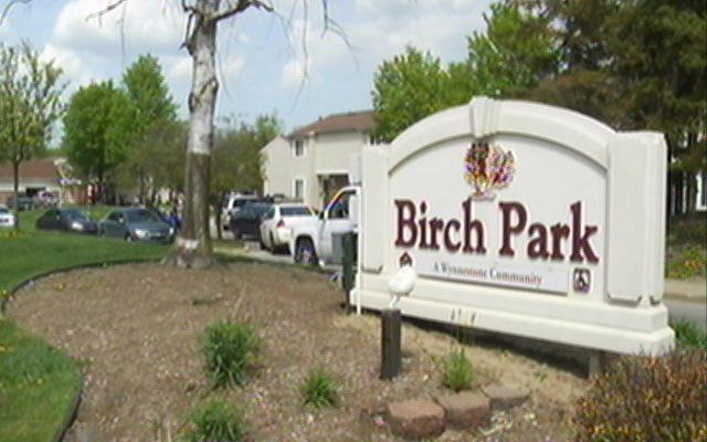 Police cars are visible behind the Birch Park sign.