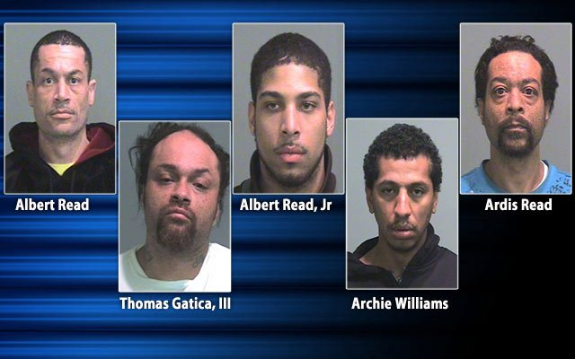 These five men have been charged in connection to the robberies.