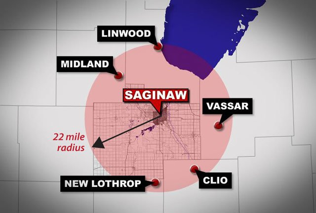 A map showing Saginaw and a 22-mile radius -- the length of the Oklahoma tornado.