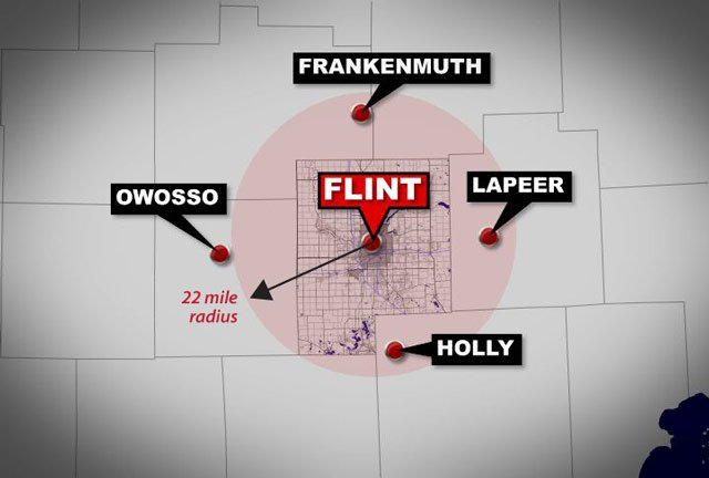 A map showing Flint and a 22-mile radius -- the length of the Oklahoma tornado.