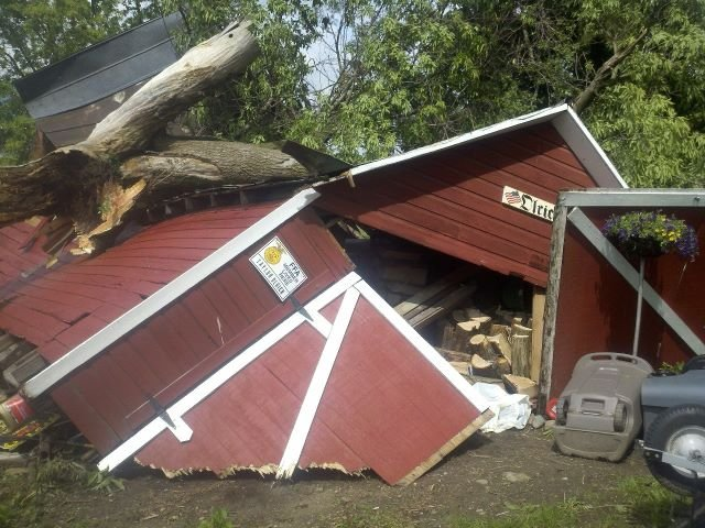 TV5's Brian Wood took this photo of a collapsed structure in Genesee County on Wednesday.