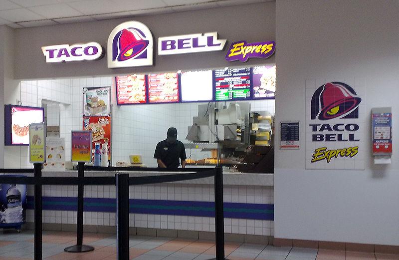 Inside a Taco Bell restaurant.