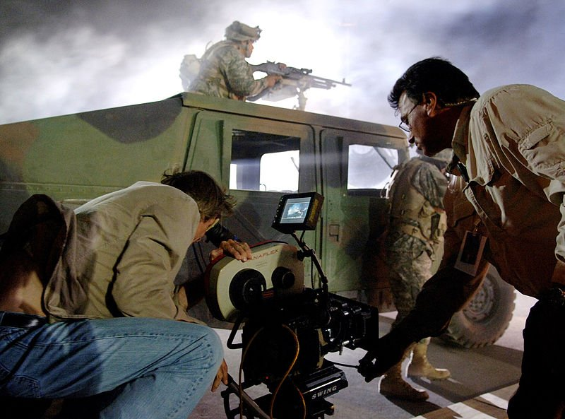 """Director Michael Bay filming the first """"Transformers"""" movie in 2006."""