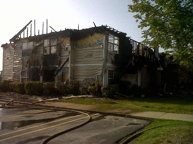 A photo showing the damage from a fire on June 24. Police say this earlier fire is not connected to Wednesday's meth lab bust.