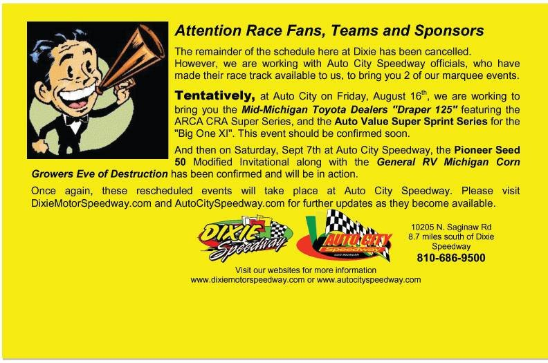 The statement released by Dixie Motor Speedway.
