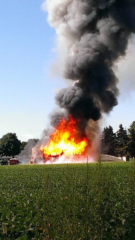 The barn on fire -- photo courtesy of Jessica Findlay.