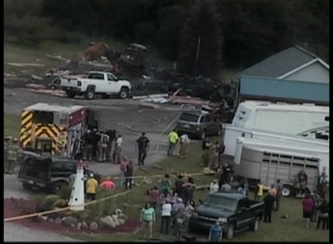 A view of the scene through a TV5 mast camera.