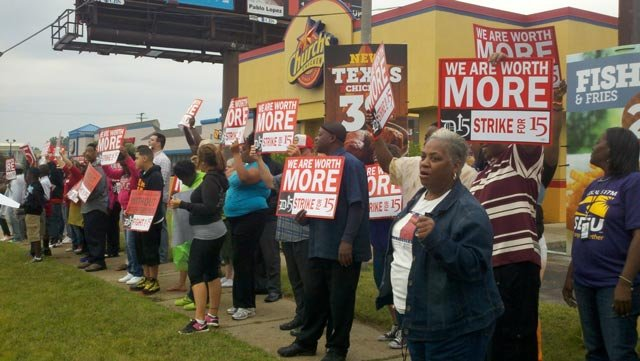 Protestors in Flint on Wednesday.