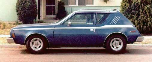 A 1974 AMC Gremlin, blue with a white racing stripe -- photo courtesy of Bob DuHamel.